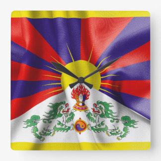 Tibet Flag Square Wall Clock