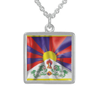 Tibet Flag Sterling Silver Square Necklace