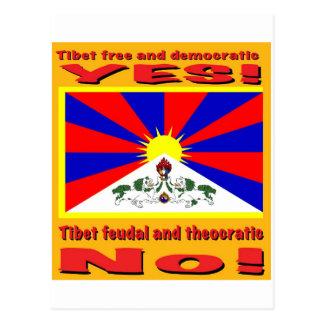 Tibet free and democratic postcard