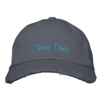 "Tibet Hat: Distressed ""Team Tibet"" Chino Twill Hat"