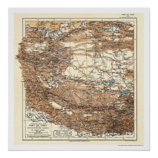 Tibet Hedin Expedition Map 1909 Poster