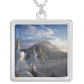 Tibet - Lhasa. Potala at sunrise Silver Plated Necklace