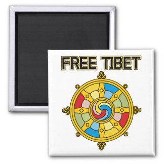 Tíbet libre Dharmacakra Imán Cuadrado