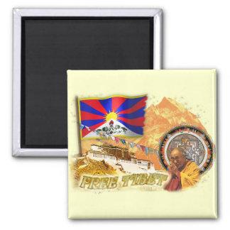 Tíbet libre imán cuadrado