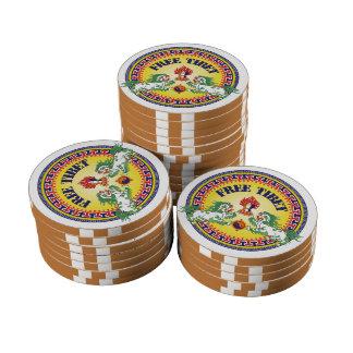 Tíbet libre redondo juego de fichas de póquer
