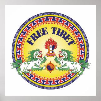 Tíbet libre redondo poster