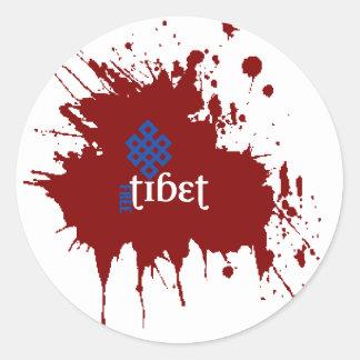 Tíbet libre sangriento pegatina redonda