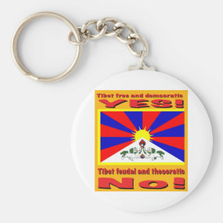 Tíbet libre y democrático llavero redondo tipo pin