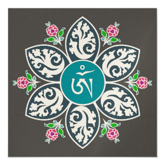 Tibet Om Symbol in Flame Mandala Card