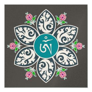 Tibet Om Symbol in Flame Mandala 5.25x5.25 Square Paper Invitation Card