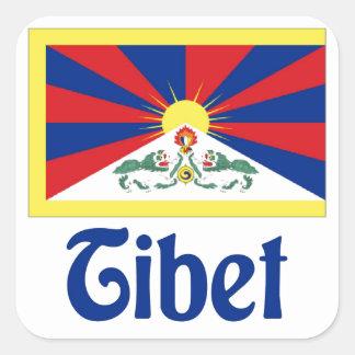 Tíbet Pegatina Cuadrada