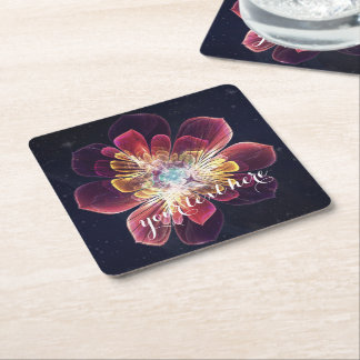 Tibet Sea Flower | Custom Drink Coaster Square Paper Coaster
