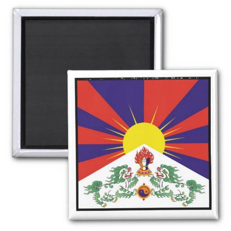 Tibet, Snow Lions, Tibetan flag - The Himalayas