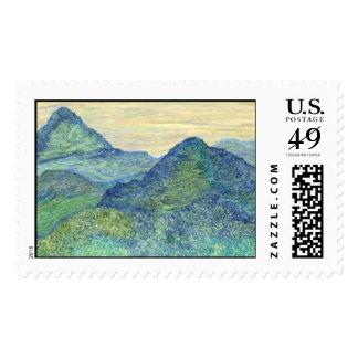Tíbet verde timbre postal