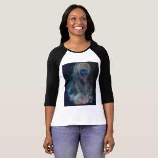 Tibet Woman: Blue Front, Earthtone Rear T-Shirt
