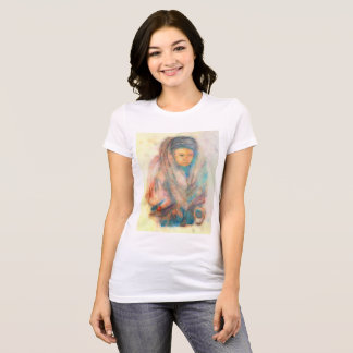 Tibet Woman: Earthtone Front, Blue digitized Rear T-Shirt