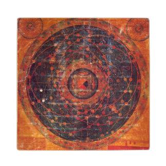 Tibetan Astronomical Thangka Maple Wood Coaster