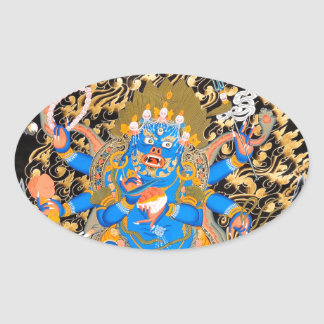 Tibetan Buddhist Art Print Oval Sticker