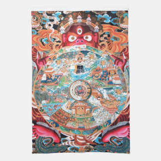 Tibetan Buddhist Art (Wheel of Life) Kitchen Towel