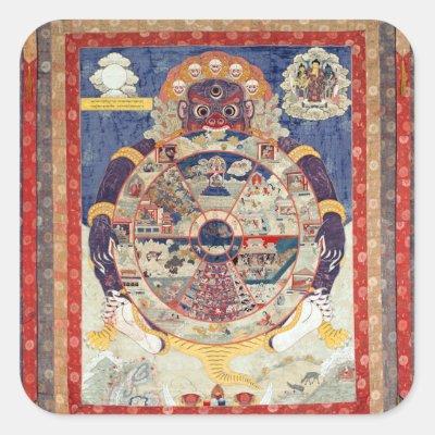 Skeletons Dancing Tibetan Buddhist Art Square Sticker