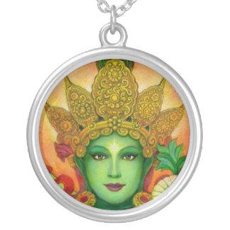 Tibetan Buddhist Goddess Green Tara Round Necklace