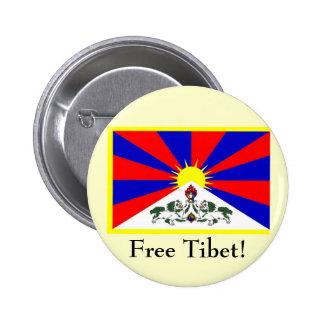 Tibetan Flag - Free Tibet! Button