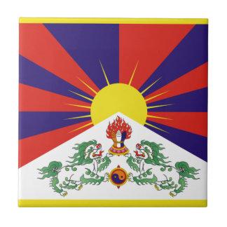 Tibetan Free Tibet Flag - Peu Rangzen བོད་རང་བཙན་ Ceramic Tile