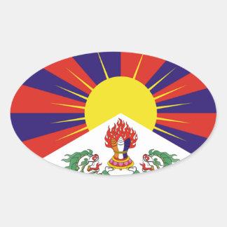 Tibetan Free Tibet Flag - Peu Rangzen བོད་རང་བཙན་ Oval Sticker