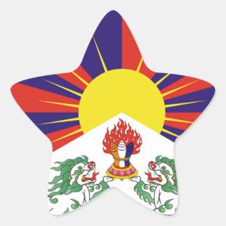 Tibetan Free Tibet Flag - Peu Rangzen བོད་རང་བཙན་ Star Sticker