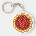 Tibetan Karma Buddhism Eternal Knot Basic Round Button Keychain