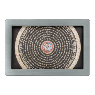 Tibetan Mandala Art (Gold & Black) Belt Buckle