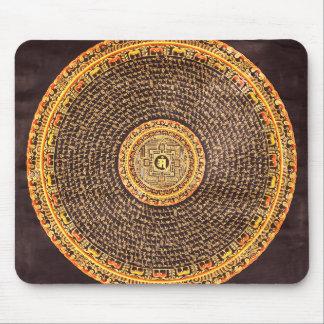 Tibetan Mandala Art (Gold & Black) Mouse Pad