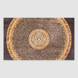 Tibetan Mandala Art (Gold & Black) Rectangular Sticker