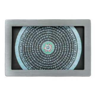 Tibetan Mandala Art (Turquoise & Black) Belt Buckle