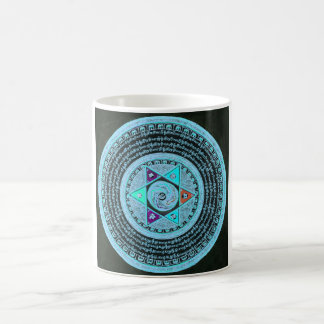 Tibetan Mandala Art (Turquoise & Black) Coffee Mug