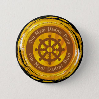 Tibetan Mantra Dharma Wheel Button