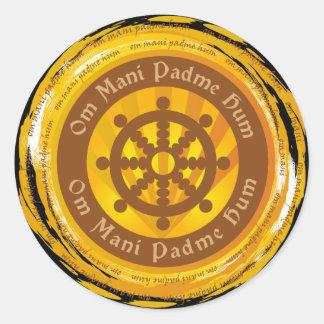 Tibetan Mantra Dharma Wheel Classic Round Sticker