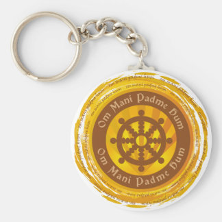 Tibetan Mantra Dharma Wheel Keychain