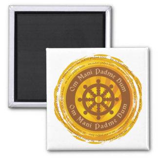 Tibetan Mantra Dharma Wheel 2 Inch Square Magnet