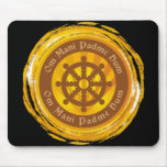 Tibetan Mantra Dharma Wheel Mouse Pad