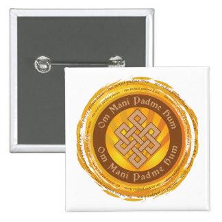 Tibetan Mantra Endless Knot 2 Inch Square Button
