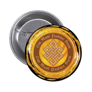 Tibetan Mantra Endless Knot 2 Inch Round Button