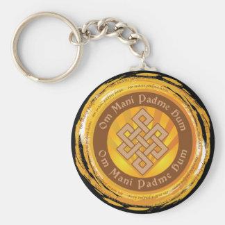 Tibetan Mantra Endless Knot Basic Round Button Keychain