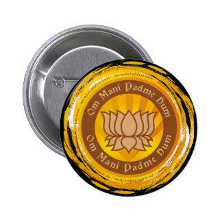 Tibetan Mantra Lotus Flower Button