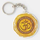 Tibetan Mantra with Aum Symbol Basic Round Button Keychain
