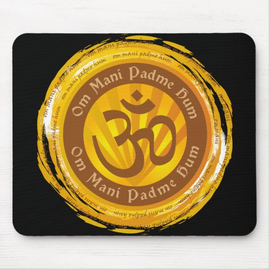 Tibetan Mantra with Aum Symbol Mouse Pad