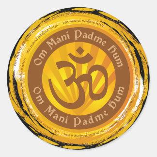 Tibetan Mantra with Aum Symbol Classic Round Sticker