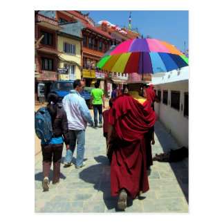 Tibetan Monk with Colorful Umbrella Post Card