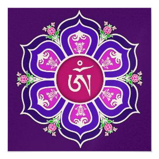 Tibetan Om in Lotus Throne Mandala Card