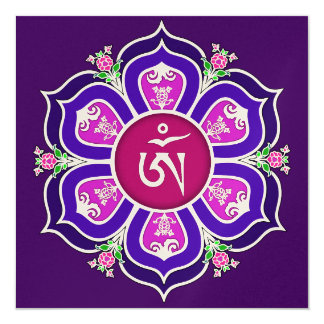Tibetan Om in Lotus Throne Mandala 5.25x5.25 Square Paper Invitation Card